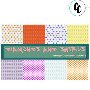 Pattern Diamonds and Swirls Digital Paper Pack | Copious Crafts - Copious Crafts