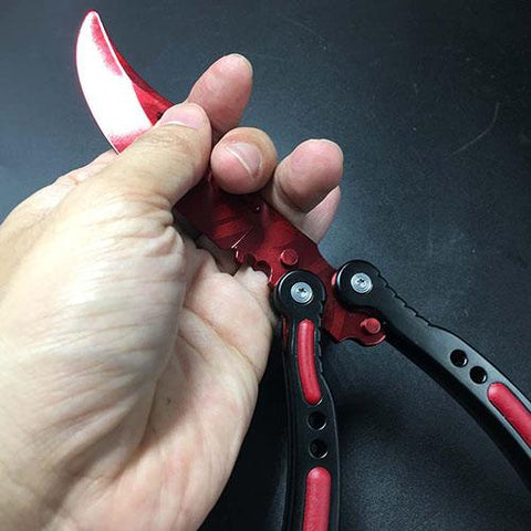 LiteGR Blood Red Folding Balisong Knife