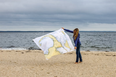 Cape Cod Coastal Map Blanket