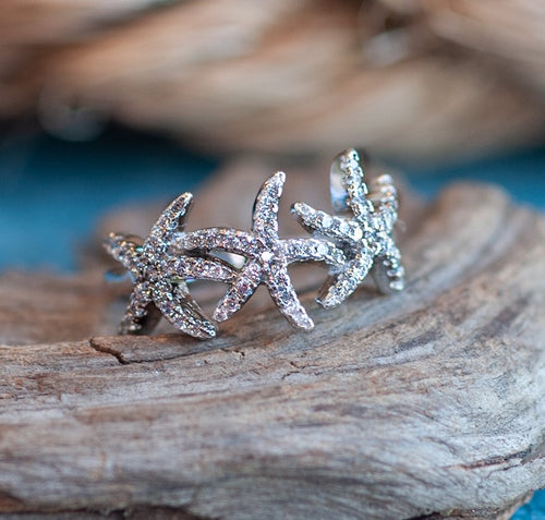 Triple Starfish Ring - Mermaids on Cape Cod-Official Mermaid Gear
