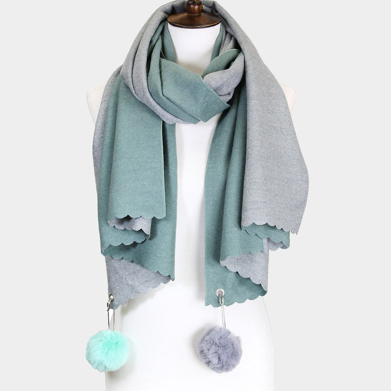 Mashpee (Un) Common Pom Pom Two Tone Scarf