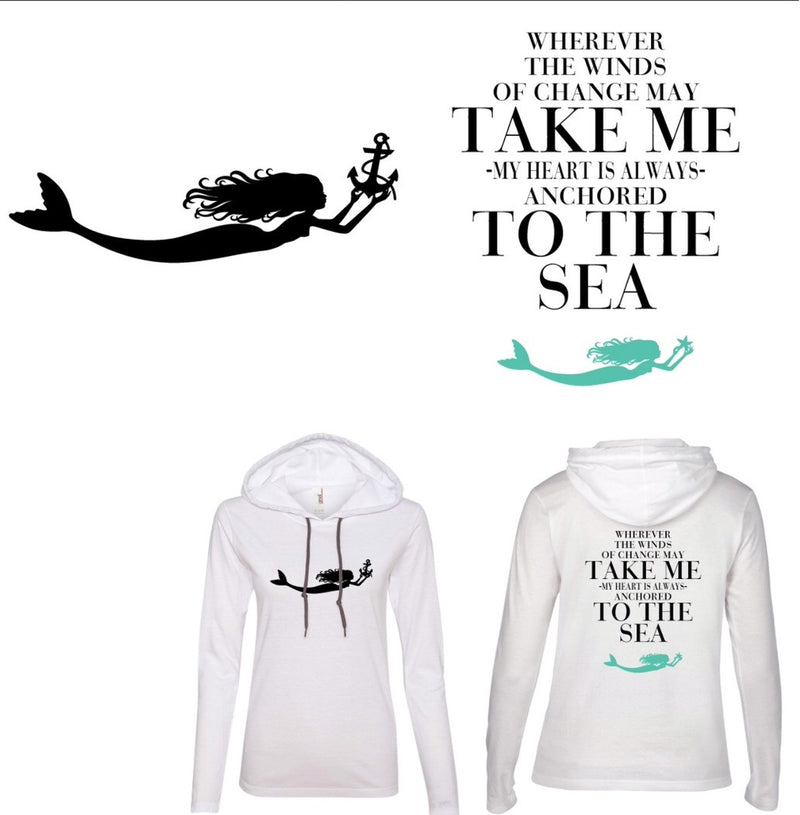 Take Me to The Sea: Hooded Shirt in White or Navy - Mermaids on Cape Cod-Official Mermaid Gear