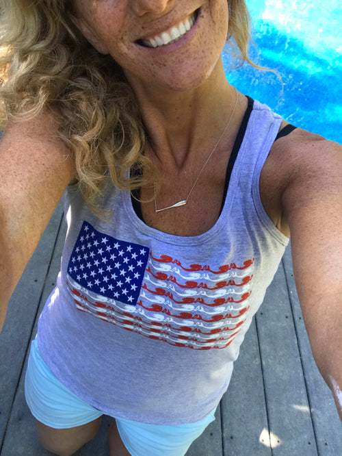 American Flag Tee or Tank-Starfish Stars and Mermaid Stripes