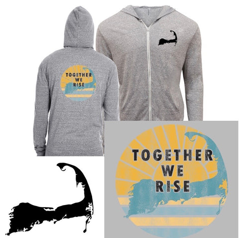 Together WE RISE  -ZIP UP HOODIE - Sunshine Waters on Cape Cod - Mermaids on Cape Cod-Official Mermaid Gear