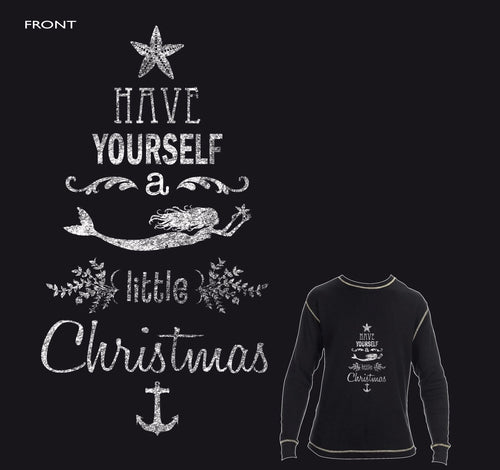 Have yourself a Mermaid little Christmas Chalkboard Waffle Tee - Mermaids on Cape Cod-Official Mermaid Gear