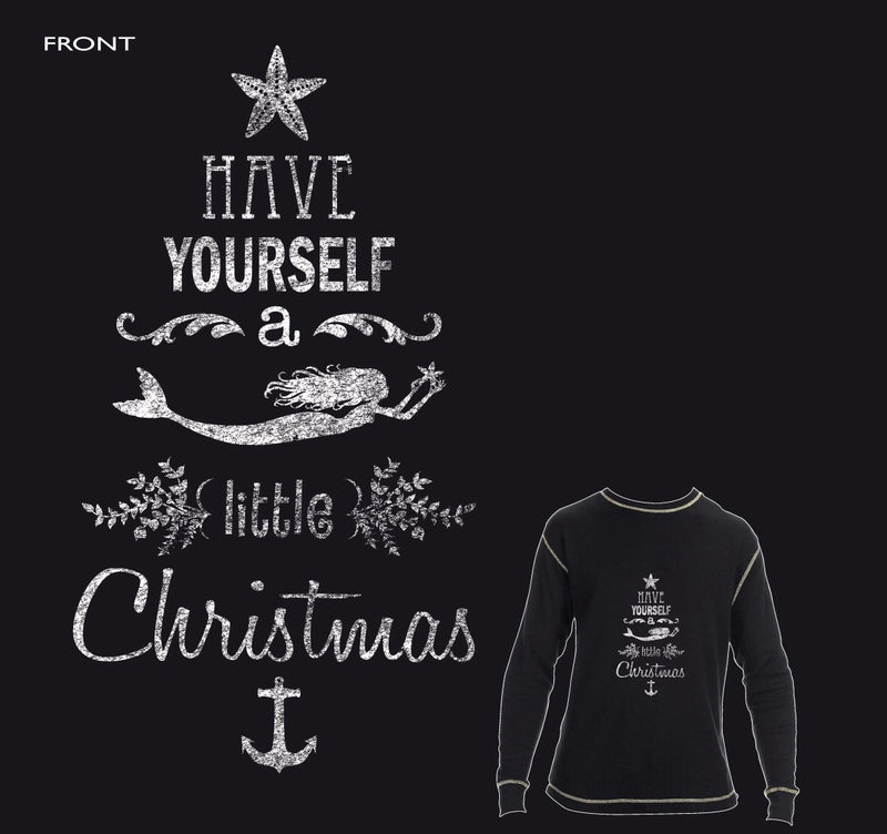 Have yourself a Mermaid little Christmas Chalkboard Waffle Tee