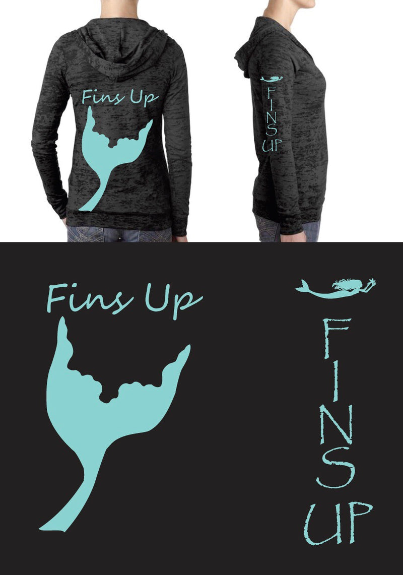 Fins Up! Midnight Burnout Hoodies - Mermaids on Cape Cod-Official Mermaid Gear