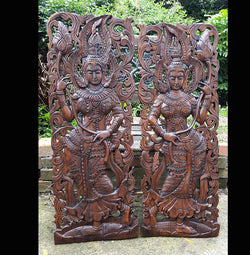 Carved Wood Relief Carvings 3ft 2 Piece Asian Dancers Wall Panels