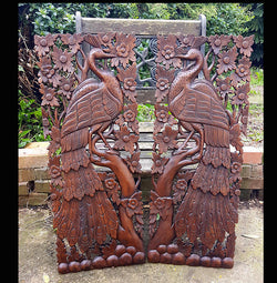 Carved Solid Wood 3ft 2 Piece Bird In Tree Wall Panels - AsianWoodCraft.com