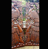 Carved Solid Wood 3ft 2 Piece Bird In Tree Wall Panels - AsianWoodCraftUK