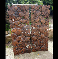 wooden fish carvings wall decoration