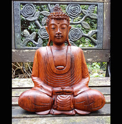 Meditation Buddha Medium 30cm - AsianWoodCraftUK