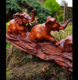 Treble Elephant Long Carving 43cm - AsianWoodCraftUK