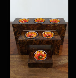 Mango Wood 3 Step Tea Light Holder - AsianWoodCraftUK