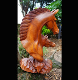 Hand Carved Double Horse Head 40cm Sculpture.Wooden Gifts UK - AsianWoodCraftUK