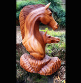50cm Solid Wood Double Horse Head Sculpture - AsianWoodCraftUK