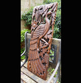 Carved Solid Wood 3ft Bird Right Facing Wall Panel - AsianWoodCraftUK