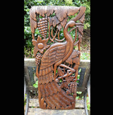 Carved Solid Wood 3ft Bird Right Facing Wall Panel - AsianWoodCraft.com