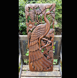 Carved Solid Wood 3ft Bird Right Facing Wall Panel