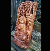 Master Carved Buddha Under Banyan Tree,Hand Carved Relief Wall Panel - AsianWoodCraftUK