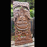 Carved Solid Wood 3ft Buddha Wall Panel Wall Hanging - AsianWoodCraftUK