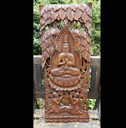 Carved Solid Wood 3ft Buddha Wall Panel Wall Hanging - AsianWoodCraft.com