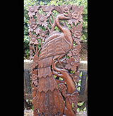 Carved Solid Wood 3ft Bird In Tree Right Facing Wall Panel - AsianWoodCraftUK