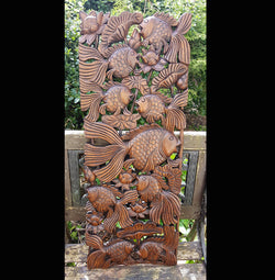 Copy of Carved Wooden 3ft Fish Wall Panel 02 Thai Wood Carvings