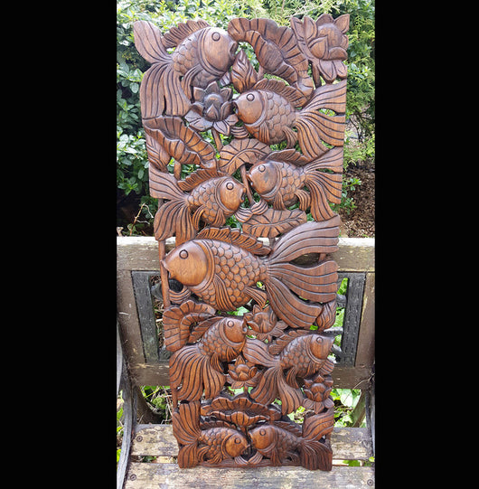 Carved solid teak wood ft fish wood carvings wall art uk