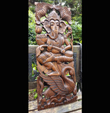 Solid Wood 3ft Ganesh Wall Panel - AsianWoodCraftUK