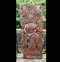 Carved Solid Wood 3ft Asian Dancer Wall Panel 02 - AsianWoodCraft.com