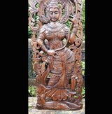 Carved Solid Wood 3ft Asian Dancer Wall Panel 02 - AsianWoodCraftUK