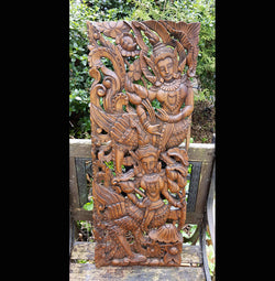 Carved Solid Wood 3ft Asian Dancers Wall Panel 02 - AsianWoodCraft.com