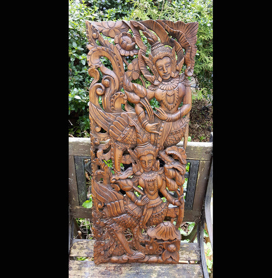 Carved Solid Wood 3ft Asian Dancers Wall Panel 02 - AsianWoodCraftUK