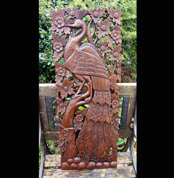 Carved Solid Wood 3ft Bird In Tree Left Facing Wall Panel - AsianWoodCraft.com