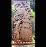 Carved Solid Wood 3ft Bird In Tree Left Facing Wall Panel - AsianWoodCraftUK