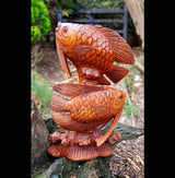 40cm Twin Fish Wooden Carving - AsianWoodCraftUK