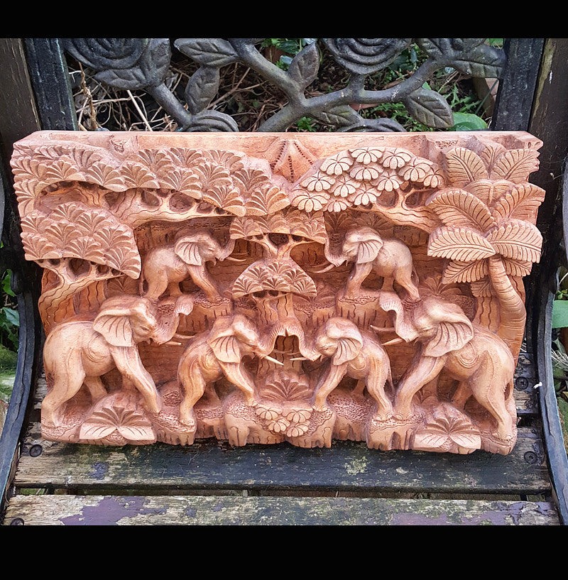 Master carved elephant herd hand relief wall panel