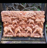 Master Carved Elephant Herd,Hand Carved Relief Wall Panel.Wooden Art - AsianWoodCraftUK