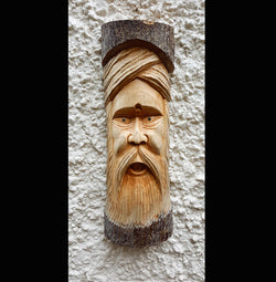 Hand Carved Half Log Greenman Wall Plaque 50cm - AsianWoodCraftUK