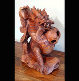 Hand Carved Suar Wood Feng Shui Dragon 02 - AsianWoodCraftUK