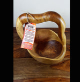 Hand Carved Teak Well Bucket Bowl - AsianWoodCraftUK
