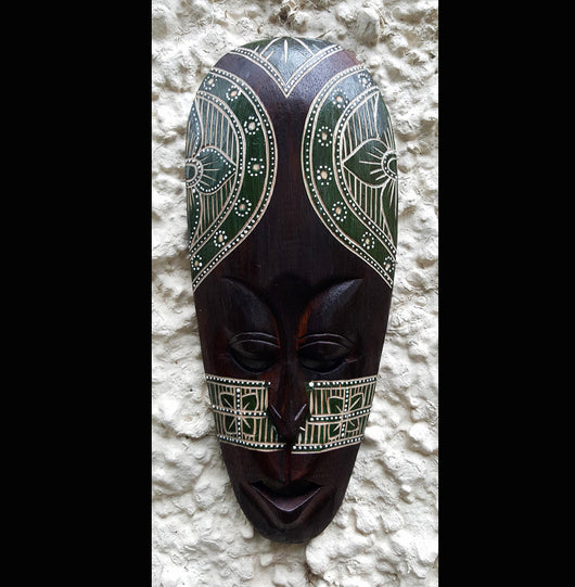 Hand Etched Hand Painted Tribal Style Wall Mask - AsianWoodCraftUK