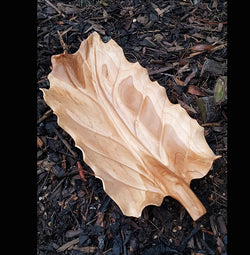 Carved Teak Root Long Leaf Serving Platter Tray - AsianWoodCraftUK