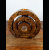 Mango Wood Full Circle Tea Light Holders - AsianWoodCraftUK