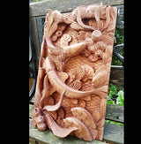 Master Carved Fish With Coral,Hand Carved Relief Wall Panel.Wooden Art - AsianWoodCraftUK