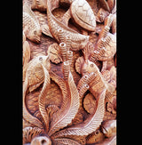 Master Carved Turtles with Fish,Hand Carved Relief Wall Panel.Wall Decoration - AsianWoodCraftUK