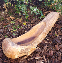 Teak Root Rustic Natural Rounded Long Bowl - AsianWoodCraftUK