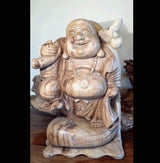 Solid Carved Chinese 40cm Happy Buddha - AsianWoodCraftUK