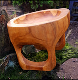 Hand Carved Solid Teak Root Bowl With Feet - AsianWoodCraftUK